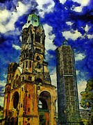 Berlin Germany Painting Posters - Starry Nights Over Berlin Poster by Ralph  van Och