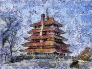 Berks Framed Prints - Starry Starry Pagoda Night Framed Print by Trish Tritz