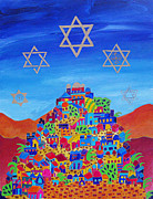 Purim Prints - Stars Above Jerusalem Print by Dawnstarstudios