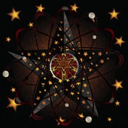 Liane Wright Posters - Stars and Atoms Abstract Poster by Liane Wright