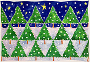 Snowy Trees Painting Posters - Stars and Snow Poster by Cathy Baxter