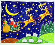 Father Christmas Prints - Stars and Snowfall Print by Cathy Baxter
