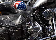 Saddlebag Posters - Stars And Stripes Helmet On A Harley Poster by Austin Brown