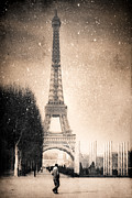 Paris Digital Art Prints - Stars Fall on the Eiffel Tower Print by Mark E Tisdale