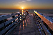 Sunset Scenes. Framed Prints - Stars on the Boardwalk Framed Print by Debra and Dave Vanderlaan
