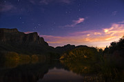 Starry Reflections Framed Prints - Stars over the Salt River at sunset Framed Print by Dave Dilli