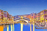 Ink Drawing Pastels Posters - Stars over Venice Poster by David Linton