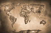 Star Map Posters - Stars world map. Sepia Poster by Guido Montanes Castillo
