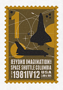 Science Fiction Prints - Starschips 01-poststamp - Spaceshuttle Print by Chungkong Art