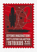 Icon Metal Prints - Starschips 02-poststamp - Battlestar Galactica Metal Print by Chungkong Art