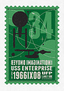 Science Fiction Prints - Starschips 34-poststamp - USS Enterprise Print by Chungkong Art