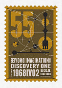 Science Fiction Framed Prints - Starschips 55-poststamp -Discovery One Framed Print by Chungkong Art