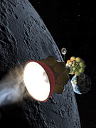 Science Fiction Painting Prints - Starship Departing from Lunar Orbit Print by Don Dixon