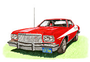 Colored Pencil Metal Prints - Starsky Hutch 1974 Ford Gran Torino Sport Metal Print by Jack Pumphrey