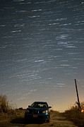 Startrails Posters - Startrailed Car Poster by Benjamin Reed