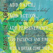 Aqua Posters - Starts with a Dream Poster by Debbie DeWitt