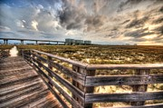 Beach Fence Digital Art Posters - State Park Boardwalk Corner Poster by Michael Thomas