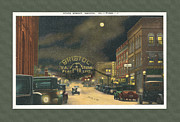Virginia Postcards Posters - State Street Bristol Va TN at night Poster by Denise Beverly
