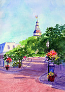 Flagpole Paintings - State Street by Teri  Jones