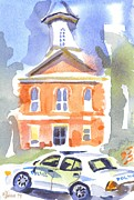 Cloudy Day Painting Posters - Stately Courthouse with Police Car Poster by Kip DeVore