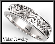 Featured Jewelry - Statement 14k White Gold Mens Wedding Ring by Roi Avidar