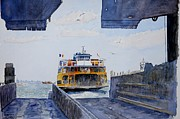 Seagulls Paintings - Staten Island Ferry Docking by Anthony Butera