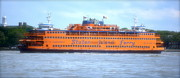 Ferry In New York Posters - Staten Island Ferry In New York Harbor Poster by Michael Dagostino