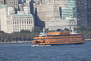 John Telfer Photography Posters - Staten Island Ferry Leaving Manhattan Poster by John Telfer