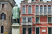 Statue And Building Facade Print by Sami Sarkis