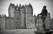 Black Angus Photo Posters - Statue observing Glamis Castle Scotland Poster by RicardMN Photography