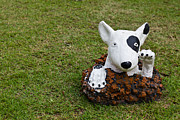 Brown Head Sculpture Prints - Statue Of A Dog Decorated On The Lawn Print by Tosporn Preede