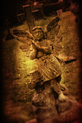 Churchyard Posters - Statue Of Angel Poster by Christopher Elwell and Amanda Haselock