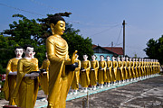 Statue Portrait Metal Prints - Statue of Buddha and disciples are alms round Metal Print by Tosporn Preede