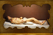 Christian Sacred Framed Prints - Statue of Dead Christ Framed Print by Gaspar Avila