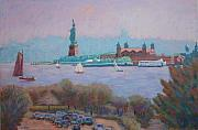 Statue Pastels Prints - Statue of Liberty and Ellis Island from Manhattan Print by Marion Derrett
