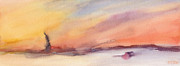 Liberty Paintings - Statue of Liberty at Sunset Watercolor Painting of New York by Beverly Brown Prints
