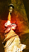 America Digital Art Posters - Statue Of Liberty Poster by David Ridley