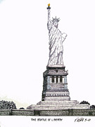 Pen And Ink Historic Buildings Drawings Drawings - Statue of Liberty by Frederic Kohli