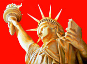 New York City Drawings Metal Prints - Statue Of Liberty Metal Print by Juan Jose Espinoza