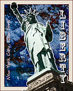 Usa Prints Mixed Media - Statue of Liberty by Mark Compton