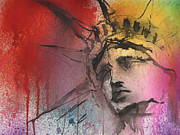 American City Mixed Media Prints - Statue of Liberty New York painting Print by Svetlana Novikova