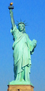 Fourth Of July Art Posters - Statue of Liberty Painterly 20130618 Long Poster by Wingsdomain Art and Photography