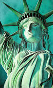 Statue Pastels Prints - Statue of Liberty Print by Popokino Art