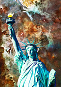 Nebula Mixed Media Prints - Statue Of Liberty - She Stands Print by Sharon Cummings
