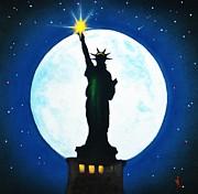 Black Light Art Painting Originals - Statue of Liberty by Thomas Kolendra