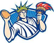 Statue Of Liberty Prints - Statue of Liberty Throwing Football Ball Print by Aloysius Patrimonio