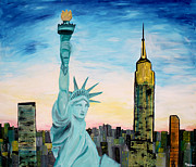 New York State Painting Originals - Statue of Liberty with view of NEW YORK by M Bleichner