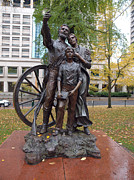 Pioneers Photos - Statue of the Oregon trail pioneers. by Gino Rigucci