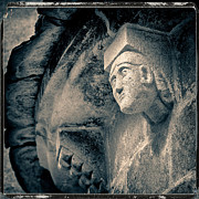 Carvings Posters - Statue on a Romanesque church in Auvergne Poster by Bernard Jaubert