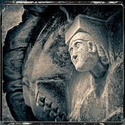 Statue On A Romanesque Church In Auvergne Print by Bernard Jaubert